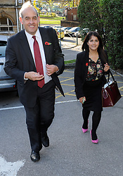 © Licensed to London News Pictures. 27/10/2014<br /> MP David Hanson(r)with Naushabah Khan walking to the car after the event.<br /> MP David Hanson  Labour Shadow Minister in Medway,Kent this afternoon (27.10.2014) at Brook Theatre Chatham to Visit by-Election candidate Naushabah Khan and talk to local people.<br /> <br /> (Byline:Grant Falvey/LNP)