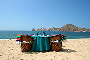 Club Cascadas, in Cabo San Lucas, offers beautiful location for dining at the beach with an excellent view to the popular Cabo San Lucas attraction Land's End.