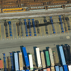 Aerial view Container Car Trailers