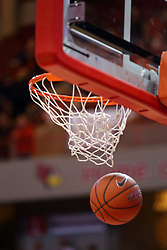 03 December 2016:  basketball falls through the hoop during an NCAA  mens basketball game between the New Mexico Lobos the Illinois State Redbirds in a non-conference game at Redbird Arena, Normal IL