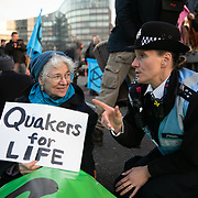 Thousands of Extinction Rebellion activists took over 5 bridges in Central London and blocked them for the day, November 17 2018, Central London, United Kingdom. Lambeth Bridge; a police sergeant tries to convince Lynn Patterson , a Quaker from Bath, to get up. Around 11am people on all bridges sat down in the road and blocked traffic from coming through and stayed till late afternoon. The actvists believe that the government is not doing enough to avoid catastrophic climate change and they demand the government take radical action to save future generations and the planet. Many are willing to be arrested peacefully protesting and up to 80 were arrested on the day. Extinction Rebellion is a grass root climate change group started in 2018 and has gained a huge following of people commited to peaceful protests and who ready to be arrested. Their major concern is that the world is facing catastropohic climate change and they want the British government to act now to save future generations.