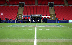 NFL markings still visible on the pitch before the Premier League match