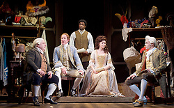 Mr Foote's Other Leg <br /> by Ian Kelly <br /> at Theatre Royal Haymarket, London, Great Britain <br /> press photocall<br /> 30th October 2015 <br /> <br /> <br /> <br /> Simon Russell Beale as Samuel Foote <br /> Ian Kelly as Prince George <br /> Micah Balfour as Frank Barber<br /> Dervla Kirwan as Peg Woffington <br /> Joseph Millson as David Garrick <br /> <br /> <br /> Photograph by Elliott Franks <br /> Image licensed to Elliott Franks Photography Services