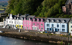 View of harbour and colourful houses in Portree on Isle of Skye, Scotland, UK