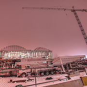 On the foggy morning of Sunday, February 27, 2011 looking at the Kauffman Center For the Performing Arts construction in the Crossroads section of downtown Kansas City, Missouri.
