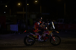 LIMA, Jan. 7, 2019  Australian rider Toby Price of KTM racing team leaves the podium during the departure ceremony at the 2019 Dakar Rally Race, Lima, Peru, on Jan. 6, 2019. The 41st edition of Dakar Rally Race kicked off in Lima, Peru. (Credit Image: © Xinhua via ZUMA Wire)