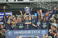 SOCCER : Finale coupe de France - 05/21/2016<br /> Marseille - Paris Saint Germain 2 - 4 <br /> THIAGO SILVA (psg) - ANGEL DI MARIA (psg) - LAYVIN KURZAWA (psg) - NICOLAS DOUCHEZ (psg) - BLAISE MATUIDI (psg) - LUCAS MOURA (psg) - SERGE AURIER (psg) - JOIE - TROPHEE<br /> Norway only