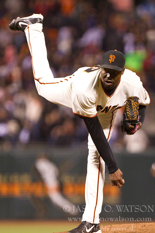 June 29, 2010; San Francisco, CA, USA;  San Francisco Giants relief pitcher Guillermo Mota (59) pitches against the Los Angeles Dodgers during the sixth inning at AT&T Park.