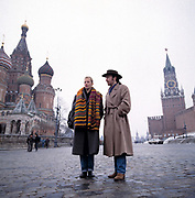 The Edge from U2 and Annie Lennox in Red Square Moscow on a Greenpeace mission 1989