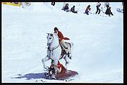 David Kirke and Cosmo Hulton, Dangerous Sports Club ski race. St. Moritz. 1984.<br />© Copyright Photograph by Dafydd Jones<br />66 Stockwell Park Rd. London SW9 0DA<br />Tel 0171 733 0108