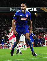 Football - 2019 / 2020 UEFA Europa League - Round of Thirty-Two, Second Leg: Arsenal (1) vs. Olympiakos (0)<br /> <br /> Youssef El Arabi of Olympiakos,celebrates scoring the winning goal in the last minute of extra time at the Emirates Stadium.<br /> <br /> COLORSPORT/ANDREW COWIE