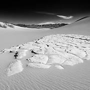 Sand Stone Outcrop - Mesquite Dunes - Death Valley, CA - Black & White