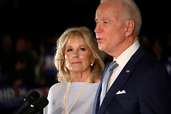 Former Vice President Joe Biden, sided by Dr. Jill Biden delivers remarks at the National Constitution Center in Philadelphia, PA on March 10, 2020. Biden canceled an earlier scheduled campaign event in Cleveland, OH due to health concerns regarding COVID-19 Coronavirus at large gatherings.