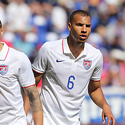 Geoff Cameron, (left) and John Brooks, USA, in action during the US Men's National Team Vs Turkey friendly match at Red Bull Arena.  The game was part of the USA teams three-game send-off series in preparation for the 2014 FIFA World Cup in Brazil. Red Bull Arena, Harrison, New Jersey. USA. 1st June 2014. Photo Tim Clayton