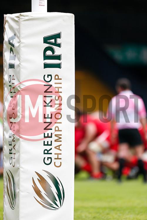 Branding of Championship title sponsor Greene King IPA on the post pads - Photo mandatory by-line: Rogan Thomson/JMP - 07966 386802 - 14/09/2014 - SPORT - RUGBY UNION - Leeds, England - Headingley Carnegie Stadium - Yorkshire Carnegie v Bristol Rugby - Greene King IPA Championship.