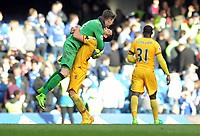Football - 2016 / 2017 Premier League - Chelsea vs. Crystal Palace<br /> <br />  Crystal Palace hero Wayne Hennessey is congratulated at the final whistle by Luka Milivojevic at Stamford Bridge.<br /> <br /> COLORSPORT/ANDREW COWIE