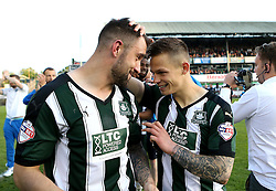 Peter Hartley of Plymouth Argyle and Craig Tanner of Plymouth Argyle celebrate reaching the playoff final - Mandatory by-line: Robbie Stephenson/JMP - 15/05/2016 - FOOTBALL - Home Park - Plymouth, England - Plymouth Argyle v Portsmouth - Sky Bet League Two play-off semi-final second leg