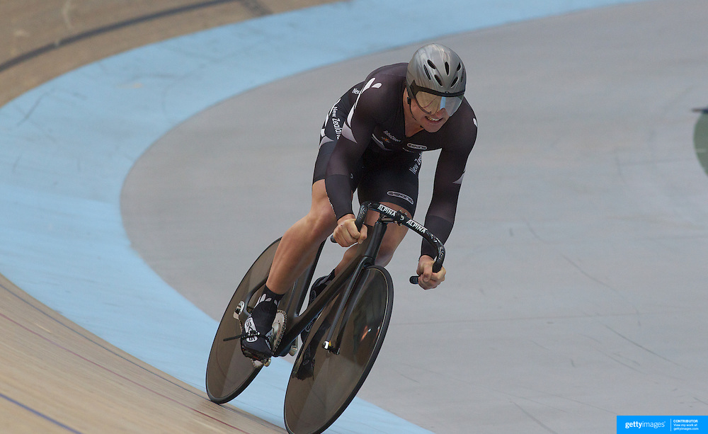 New Zealand Men Elite Team Sprint team members  Simon Van Vel Thooven in action during the 2012 Oceania WHK Track Cycling Championships, Invercargill, New Zealand. 21st November  2011. Photo Tim Clayton...
