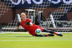 ANN ARBOR, USA - Friday, July 27, 2018: Liverpool's goalkeeper Caoimhin Kelleher during a training session ahead of the preseason International Champions Cup match between Manchester United FC and Liverpool FC at the Michigan Stadium. (Pic by David Rawcliffe/Propaganda)