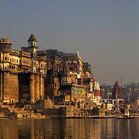 Asia, India, Uttar Pradesh, Varanasi. Scene of the ghats in the holy city of Varanasi on the Ganges River.