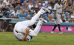 October 25, 2017 - Los Angeles, California, U.S. - Los Angeles Dodgers starting pitcher Rich Hill rolls over as he gets out of the way of a sac bunt by Houston Astros' Justin Verlander (not pictured) in the third inning of game two of a World Series baseball game at Dodger Stadium on Wednesday, Oct. 25, 2017 in Los Angeles. (Photo by Keith Birmingham, Pasadena Star-News/SCNG) (Credit Image: © San Gabriel Valley Tribune via ZUMA Wire)