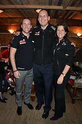 Left to right, CHRIS DOWNEY, MARK WISE and KATE PHILP at a party in honour of the Walking With The Wounded team members held at Bodo's Schloss, 2A Kensington High Street, London on 13th November 2013.