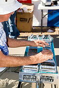 A man playing a pedal steel guitar. Photographed at the Apple Butter Festival in Kimmswick Missouri MO USA,