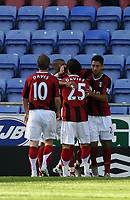 Photo: Sportsbeat Images.<br />Wigan Athletic v Fulham. The FA Barclays Premiership. 15/09/2007.<br />Fulham scorer Clint Dempsey (hidden) is mobbed by team mates.