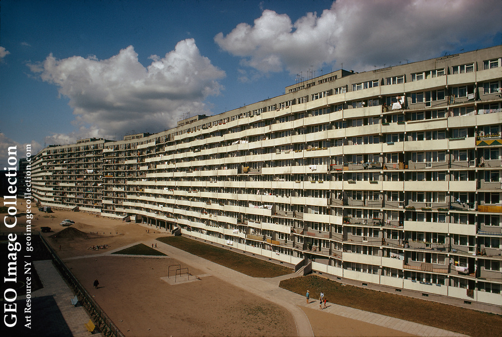 A 2,000-foot-long apartment building housing 40,000 people.