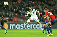Harry Kane of Tottenham Hotspur taking a shot at goal. UEFA Champions league match, group E, Tottenham Hotspur v CSKA Moscow at Wembley Stadium in London on Wednesday 7th December 2016.<br /> pic by John Patrick Fletcher, Andrew Orchard sports photography.