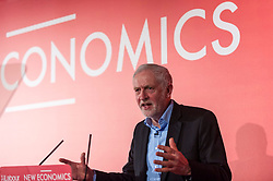 © Licensed to London News Pictures. 10/02/2018. LONDON, UK. Jeremy Corbyn, Labour Leader, speaks about expanding public and democratic ownership at a Labour Party New Economics conference at The Grand Connaught Rooms in Covent Garden.  Photo credit: Stephen Chung/LNP