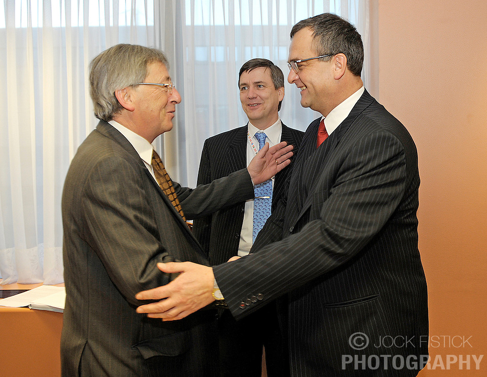 Jean-Claude Juncker, Luxembourg's prime minister meets with Miroslav Kalousek, finance minister of the Czech Republic and standing president of ECOFIN, the council of EU finance ministers, in Brussels, Belgium, Tuesday Jan. 20, 2009. (Photo / Jock Fistick)