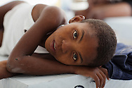 Jeff Kalason, 9 years old recovering from cholera in cholera treatment center in the Tabarre section of Port-au-Prince run by Doctors with out Boarders (MSF) .