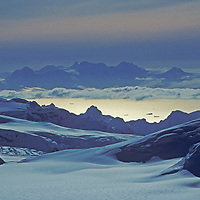 Brabant Island rises behind the Gerlache Strait and Calley Glacier on the Antarctic Peninsula.  Image taken from summit of Mount Berry.