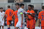 Players argue during the UEFA European Under 17 Championship 2018 match between Netherlands and Spain at the Pirelli Stadium, Burton upon Trent, England on 8 May 2018. Picture by Mick Haynes.