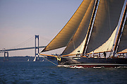 USA, Newport, RI - Replica of schooner America sails past Newport Bridge in Narragansett bay.