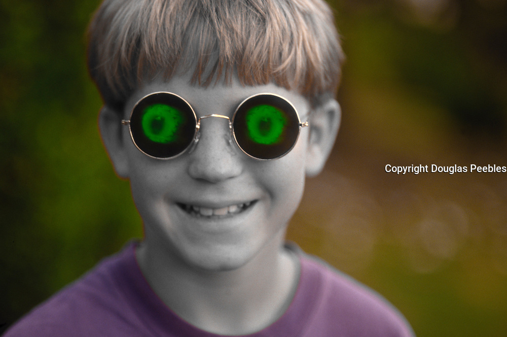 Boy with eyeball glasses<br />