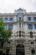 Facade of blue and white Art Nouveau building, Riga, Latvia