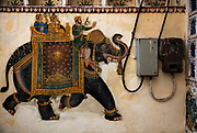House with a painting of a Mughal King riding an elephant in front of the electric meters on 19th January 2018  in the city of Udaipur, India. Throughout the ages Indian artists have shown a strong affinity for decorated elephants from minatures to huge street murals.