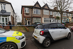 © Licensed to London News Pictures. 23/01/2020. London, UK. Police outside a residential property in Waverley Avenue, Chingford, where a woman aged in her 60's was found by police last night suffering from head injuries and was pronounced dead at the scene. Officers were called at 2335hrs on Wednesday, 22 January, to a report of a disturbance at an address in Waverley Avenue, E4. A man, aged in his 20s, was arrested at the location and taken into custody at a north London police station. Enquiries are underway to establish the full circumstances. Officers believe the deceased and the man arrested were known to each other. Photo credit: Vickie Flores/LNP