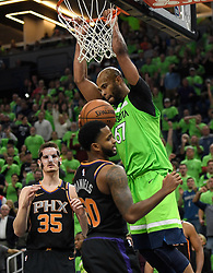 December 16, 2017 - Minneapolis, MN, USA - The Minnesota Timberwolves' Taj Gibson (67) dunks to give the Timberwolves a short-lived lead in the fourth quarter against the Phoenix Suns on Saturday, Dec. 16, 2017, at Target Center in Minneapolis. The Suns won, 108-106. (Credit Image: © Aaron Lavinsky/TNS via ZUMA Wire)