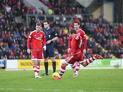 Aberdeen's Peter Pawlett scoring their second goal. <br /> half time : St Johnstone 0 v 2 Aberdeen, SPFL Ladbrokes Premiership played 6/2/2016 at McDiarmid Park, Perth.