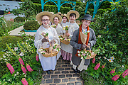 500 years of Covent Garden, The Sir Simon Milton Garden with flower sellers and Eliza Doolittle - The Chelsea Flower Show organised by the Royal Horticultural Society with M&G as its MAIN sponsor for the final year.