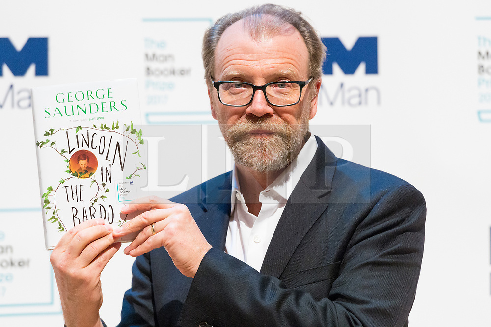 © Licensed to London News Pictures. 16/10/2017. London, UK.  US author GEROGE SAUNDERS with his book Lincoln in the Bardo attends the Man Booker prize for fiction shortlisted event at the Royal festival Hall. The winning author will receive £50,000 prize money.Photo credit: Ray Tang/LNP