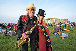 © Licensed to London News Pictures.21/06/2017. Stonehenge, Amesbury, Wiltshire, UK.  NIK TURNER (of Hawkwind) with ANGEL at the Summer Solstice celebrations at Stonehenge on the longest day of the year. Photo credit : Simon Chapman/LNP