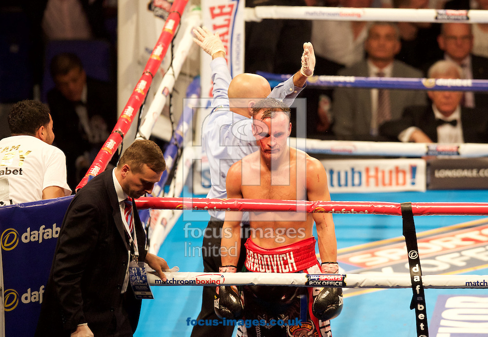 Evgeny Gradovich has the fight stopped by the doctor during his WBC lightweight bout at the O2 Arena, London<br /> Picture by Alan Stanford/Focus Images Ltd +44 7915 056117<br /> 30/05/2015