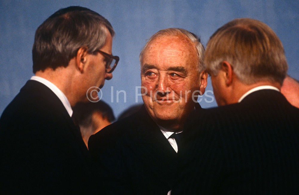 Veteran Tory grandee under Margaret Thatchers premiership, Willie Whitelaw and British Prime Minister, John Major at the Conservative party conference on 11th October 1991 in Blackpool, England.