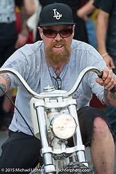 "Bill Dodge of Bling's Cycles in Daytona Beach, FL at Willie's Tropical Tattoo ""Old School Bike Show"" during Daytona Beach Bike Week, FL, USA. Thursday, March 12, 2015.  Photography ©2015 Michael Lichter."