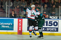 KELOWNA, CANADA - JANUARY 9: Conner Bruggen-Cate #20 of the Kelowna Rockets checks a player of the Everett Silvertips on January 9, 2019 at Prospera Place in Kelowna, British Columbia, Canada.  (Photo by Marissa Baecker/Shoot the Breeze)