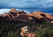 Entrada Sandstone fins, Devils Garden, Arches National Park, Utah.